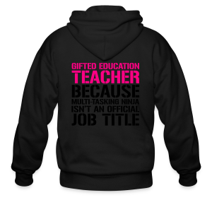Gifted Education... Ninja Isn't an Official Job Title | White + Metallic Silver - Men's Zip Hoodie