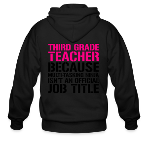Third Grade Teacher... Ninja Isn't an Official Job Title | White + Metallic Silver - Men's Zip Hoodie