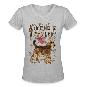 Geometric Airedale Terrier Long Sleeve Shirts - Women's V-Neck T-Shirt