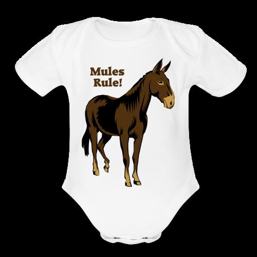 Mules Rule! - Kid's - Organic Short Sleeve Baby Bodysuit