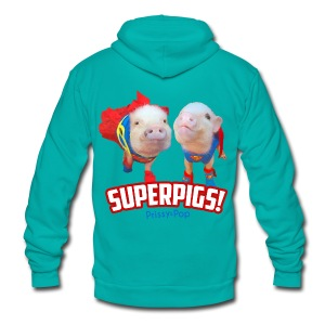 Kid's Superpigs - Unisex Fleece Zip Hoodie by American Apparel