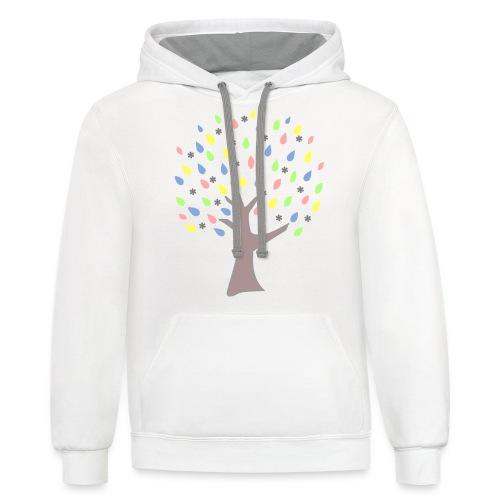 Memory Tree Pastel Shades  (Digital Print) - Contrast Hoodie