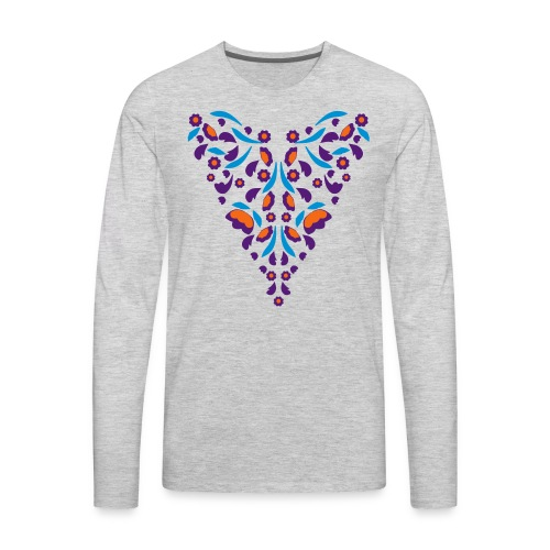 Lavender Pink and Light Green Florals Flex Print - Men's Premium Long Sleeve T-Shirt