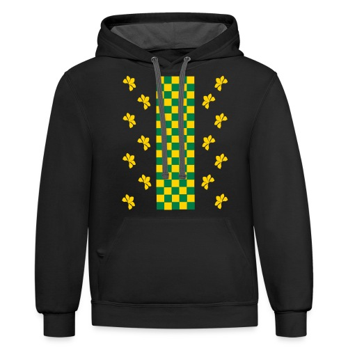 Green and Gold Checkers Womens Shirt (Velvety Print) - Contrast Hoodie
