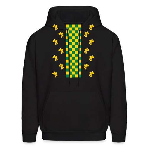 Green and Gold Checkers Womens Shirt (Velvety Print) - Men's Hoodie