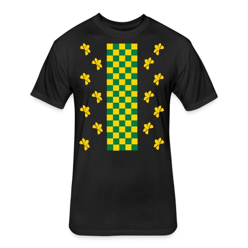 Green and Gold Checkers Womens Shirt (Velvety Print) - Fitted Cotton/Poly T-Shirt by Next Level
