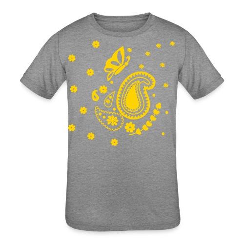 Golden Glitz Paisley Kids Shirt (Specialty Print) - Kids' Tri-Blend T-Shirt