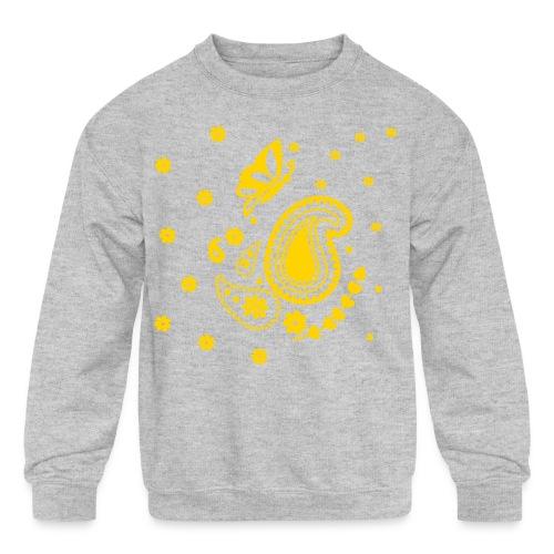 Golden Glitz Paisley Kids Shirt (Specialty Print) - Kids' Crewneck Sweatshirt