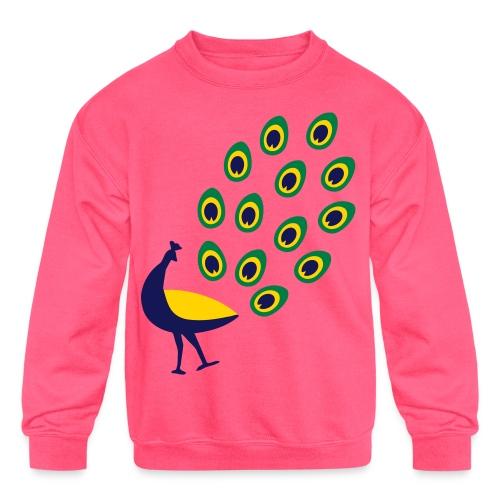 Dancing Peacock Kids T Shirt (Flex Print) - Kids' Crewneck Sweatshirt