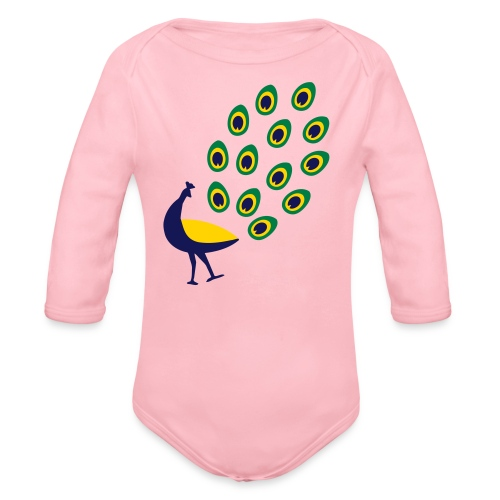 Dancing Peacock Kids T Shirt (Flex Print) - Organic Long Sleeve Baby Bodysuit