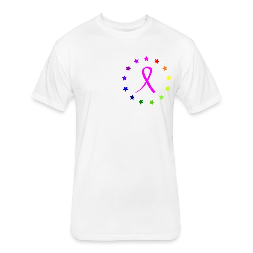 RAINBOW STARS PINK TEE - Fitted Cotton/Poly T-Shirt by Next Level