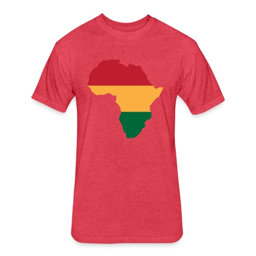 Africa - Red, Gold, Green - Fitted Cotton/Poly T-Shirt by Next Level