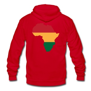 Africa - Red, Gold, Green - Unisex Fleece Zip Hoodie by American Apparel
