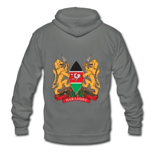 The Kenya Coat of Arms - Unisex Fleece Zip Hoodie by American Apparel
