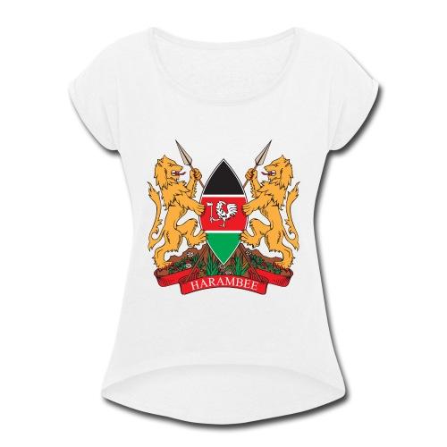 The Kenya Coat of Arms - Women's Roll Cuff T-Shirt