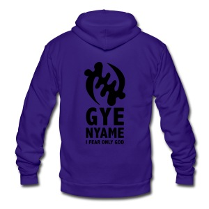 Gye Nyame - I Fear Only God - Unisex Fleece Zip Hoodie by American Apparel