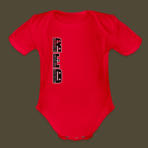 R.E.D. 3 Front And Back - Organic Short Sleeve Baby Bodysuit