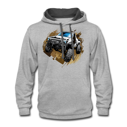 White Mudding Truck - Contrast Hoodie