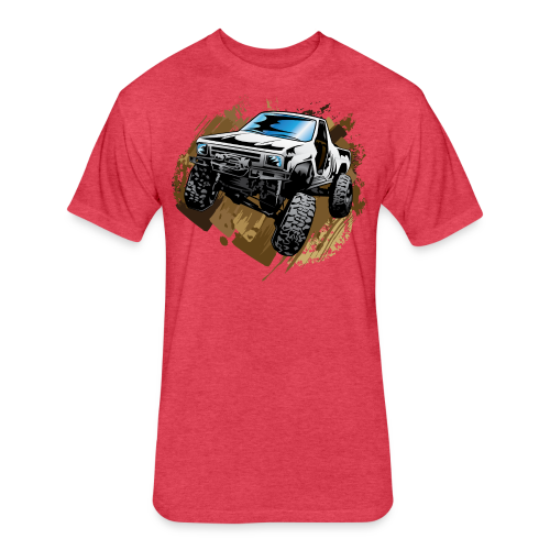 White Mudding Truck - Fitted Cotton/Poly T-Shirt by Next Level
