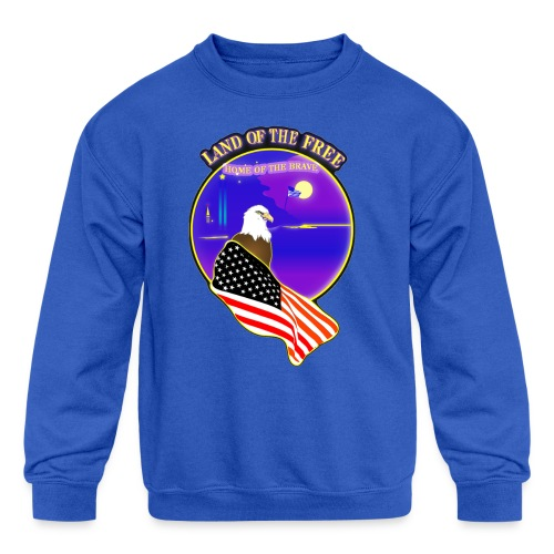 Land of the Free, Home of the Brave Kid's T-Shirt - Kids' Crewneck Sweatshirt