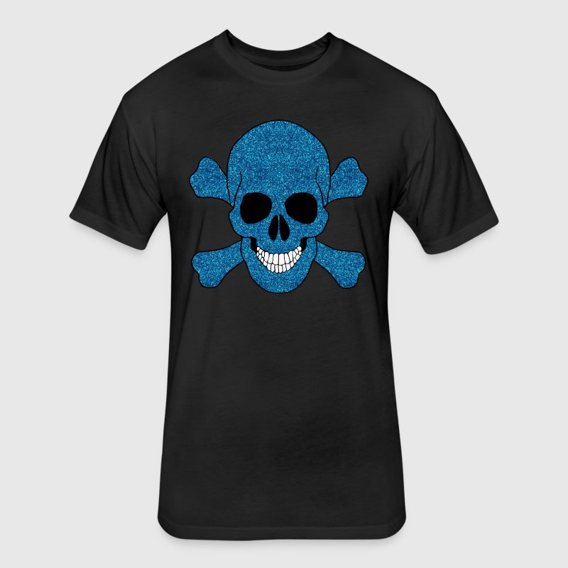 Faux Blue Glitter Skull And Crossbones Shirt - Fitted Cotton/Poly T-Shirt by Next Level
