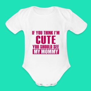 THINK IM CUTE BIB - Short Sleeve Baby Bodysuit