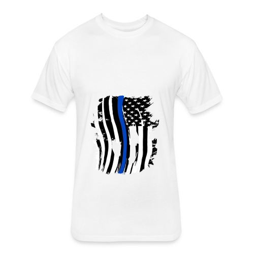 Thin Blue Line Flowy Tank - Fitted Cotton/Poly T-Shirt by Next Level