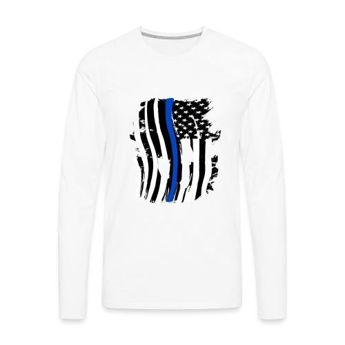 Thin Blue Line Flowy Tank - Men's Premium Long Sleeve T-Shirt