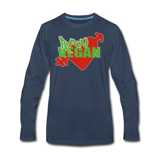 Raw Vegan Heart Vintage Tee  - Men's Premium Long Sleeve T-Shirt