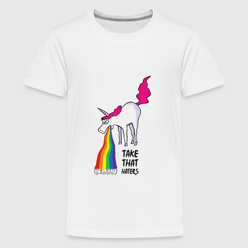 Unicorn puking rainbow - takt that haters Kids' Shirts - Kids' Premium T-Shirt