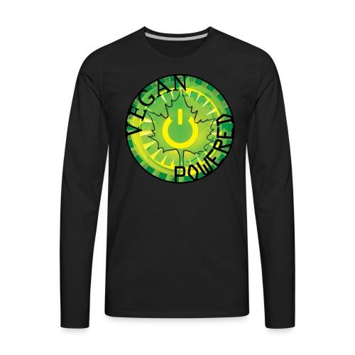 Vegan Power Button Vintage Tee - Men's Premium Long Sleeve T-Shirt