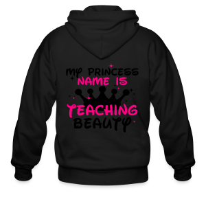 My Princess Name is Teaching Beauty | Metallic Silver - Men's Zip Hoodie