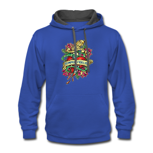 Contrast Hoodie - Great airbrush style tattoo design of thorned golden dagger through the heart with latin Semper Fidelis meaning Always Faithful - the Glorious Charge of Thee US Marine Corps. Get some...oohrah!
