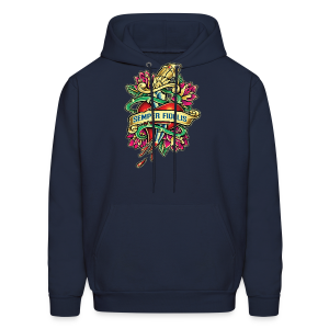 Men's Hoodie - Great airbrush style tattoo design of thorned golden dagger through the heart with latin Semper Fidelis meaning Always Faithful - the Glorious Charge of Thee US Marine Corps. Get some...oohrah!
