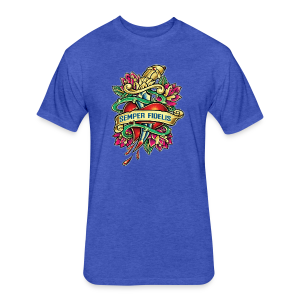 Fitted Cotton/Poly T-Shirt by Next Level - Great airbrush style tattoo design of thorned golden dagger through the heart with latin Semper Fidelis meaning Always Faithful - the Glorious Charge of Thee US Marine Corps. Get some...oohrah!