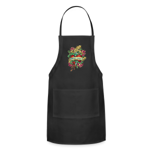 Adjustable Apron - Great airbrush style tattoo design of thorned golden dagger through the heart with latin Semper Fidelis meaning Always Faithful - the Glorious Charge of Thee US Marine Corps. Get some...oohrah!