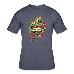 Men's 50/50 T-Shirt - Great airbrush style tattoo design of thorned golden dagger through the heart with latin Semper Fidelis meaning Always Faithful - the Glorious Charge of Thee US Marine Corps. Get some...oohrah!