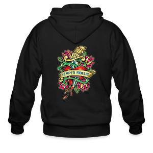 Men's Zip Hoodie - Great airbrush style tattoo design of thorned golden dagger through the heart with latin Semper Fidelis meaning Always Faithful - the Glorious Charge of Thee US Marine Corps. Get some...oohrah!