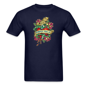 Men's T-Shirt - Great airbrush style tattoo design of thorned golden dagger through the heart with latin Semper Fidelis meaning Always Faithful - the Glorious Charge of Thee US Marine Corps. Get some...oohrah!