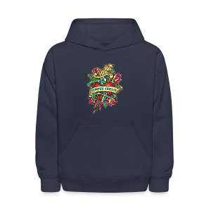 Kids' Hoodie - Great airbrush style tattoo design of thorned golden dagger through the heart with latin Semper Fidelis meaning Always Faithful - the Glorious Charge of Thee US Marine Corps. Get some...oohrah!
