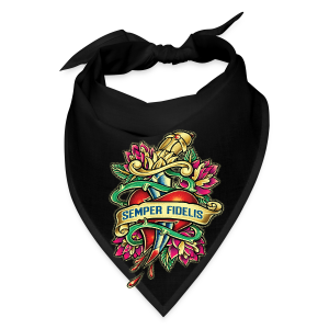 Bandana - Great airbrush style tattoo design of thorned golden dagger through the heart with latin Semper Fidelis meaning Always Faithful - the Glorious Charge of Thee US Marine Corps. Get some...oohrah!