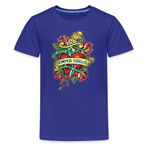 Kids' Premium T-Shirt - Great airbrush style tattoo design of thorned golden dagger through the heart with latin Semper Fidelis meaning Always Faithful - the Glorious Charge of Thee US Marine Corps. Get some...oohrah!