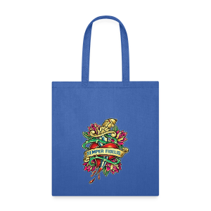 Tote Bag - Great airbrush style tattoo design of thorned golden dagger through the heart with latin Semper Fidelis meaning Always Faithful - the Glorious Charge of Thee US Marine Corps. Get some...oohrah!