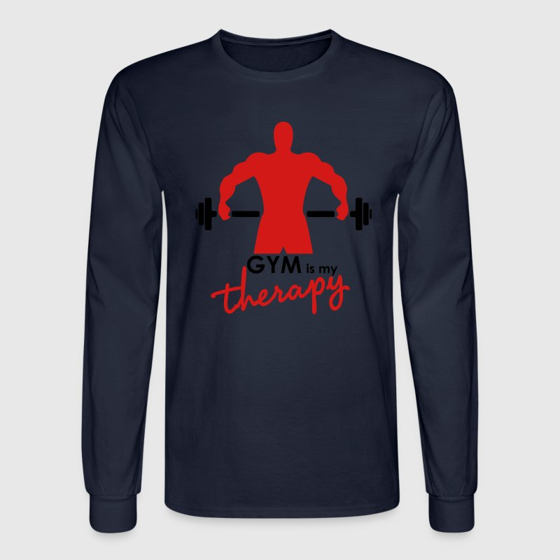 GYM is my therapy - Men's Long Sleeve T-Shirt