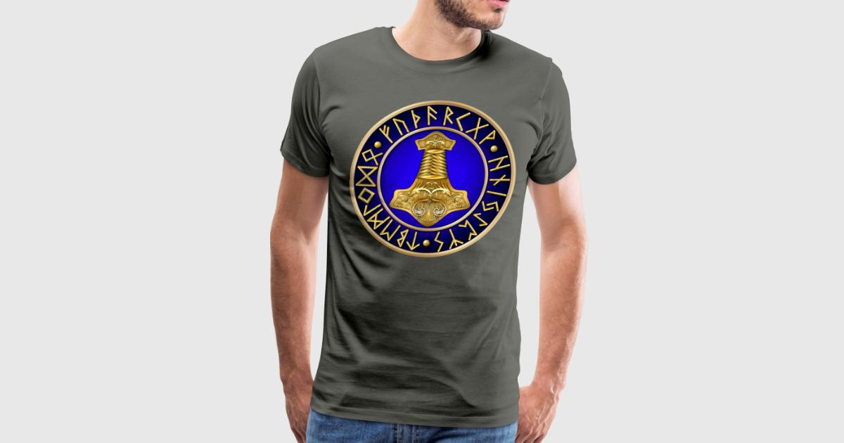 norse thor 39 s hammer runes blue t shirt spreadshirt