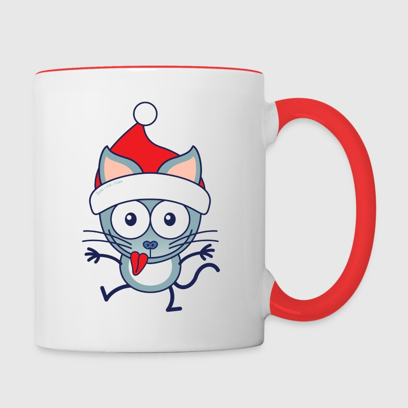 Christmas cat wearing Santa hat Mugs & Drinkware - Contrast Coffee Mug