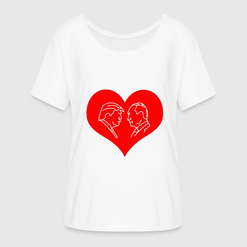 Trump Putin Red Heart T-Shirts - Women's Flowy T-Shirt