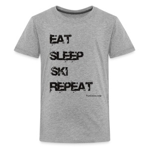 Eat Sleep Ski Repeat Women's Hoodie - bw - Kids' Premium T-Shirt