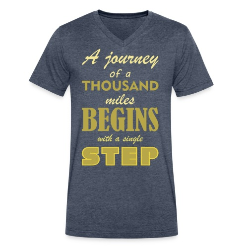A Journey Of A Thousand Miles - Men's V-Neck T-Shirt by Canvas