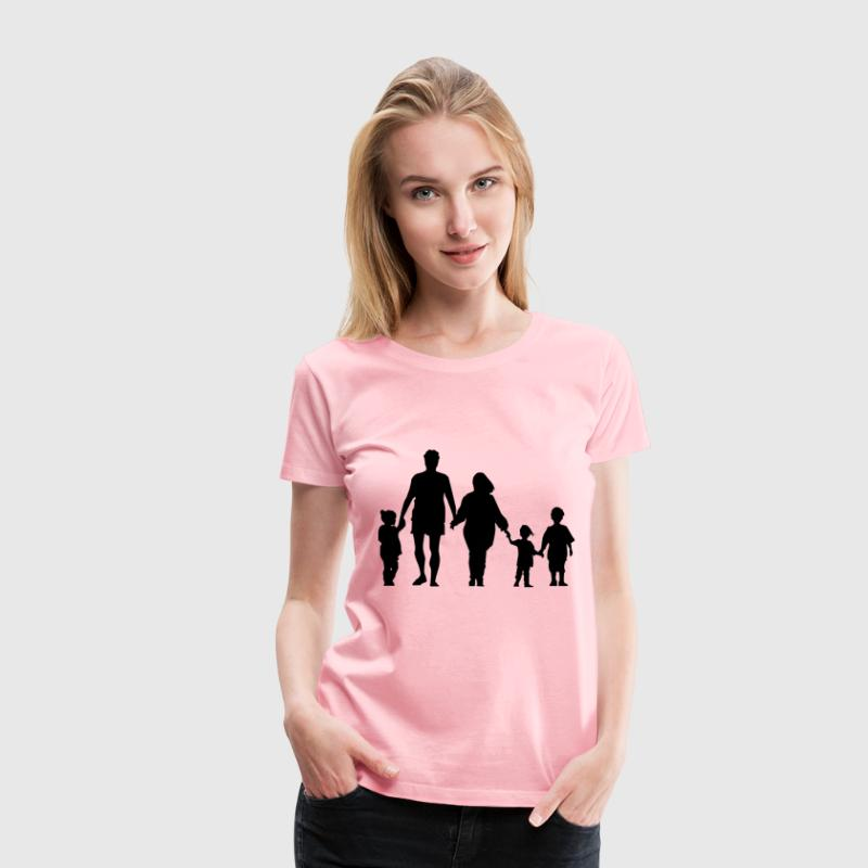 Family Holding Hands Minus Ground Silhouette - Women's Premium T-Shirt